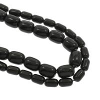 Schwarzer Obsidian Perle, Bohrung:ca. 1mm, verkauft per ca. 15.5 ZollInch Strang