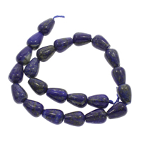 Lapislazuli Perlen, natürlicher Lapislazuli, Tropfen, 12x18mm, Bohrung:ca. 1mm, ca. 20PCs/Strang, verkauft per ca. 15.5 ZollInch Strang