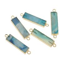 Streifen Achat Schmuckverbinder, mit Zinklegierung, Rechteck, goldfarben plattiert, 1/1-Schleife, blau, 45x10x5mm, Bohrung:ca. 2mm, verkauft von PC
