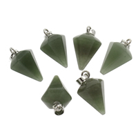 Grüner Aventurin Anhänger, mit Zinklegierung, Platinfarbe platiniert, 15x33mm, Bohrung:ca. 4x6mm, ca. 5PCs/Tasche, verkauft von Tasche