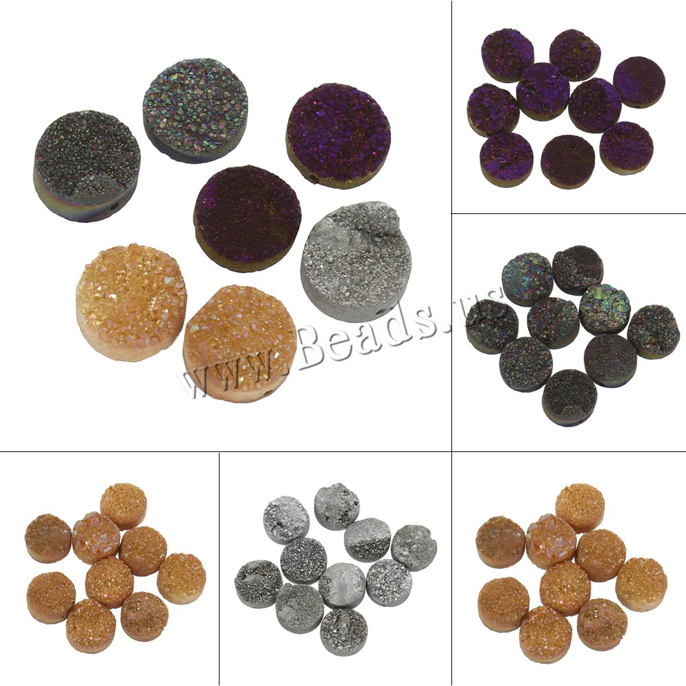 Buy Natural Ice Quartz Agate Beads Flat Round druzy style & half-drilled colors choice 15x4mm-17x8mm Hole:Approx 1mm Approx 5PCs/Bag Sold Bag