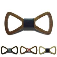 Unisex-Fliege, Holz, mit Baumwollgewebe & PU Leder, verschiedene Muster für Wahl, 120x60mm, verkauft von PC