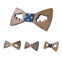 Unisex-Fliege, Holz, mit Baumwollgewebe & Satinband, verschiedene Stile für Wahl, 120x55mm, verkauft von PC