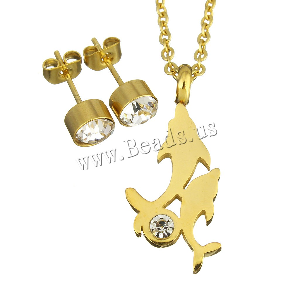 Buy Rhinestone Stainless Steel Jewelry Set earring & necklace Dolphin gold color plated oval chain & woman & rhinestone 13x29mm 2mm 6mm Length:Approx 18 Inch Sold Set