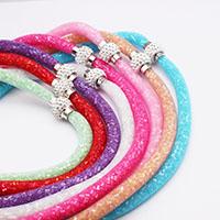 Mesh Stardust Halskette, Zinklegierung, mit Kunststoff Netz & Harz Strass, Rundes Rohr, Platinfarbe platiniert, für Frau, keine, frei von Nickel, Blei & Kadmium, verkauft per ca. 18 ZollInch Strang