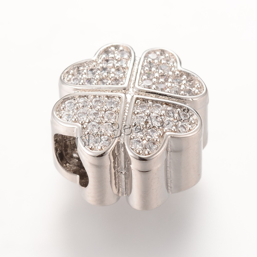 Buy Brass European Beads Four Leaf Clover platinum color plated micro pave cubic zirconia & without troll nickel lead & cadmium free 13.7X12.9mm Hole:Approx 4-5mm 5PCs/Bag Sold Bag