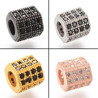 Zirkonia Micro Pave Messing Europa Bead, plattiert, Micro pave Zirkonia & ohne troll, keine, frei von Nickel, Blei & Kadmium, 7.3x7.4mm, Bohrung:ca. 4-5mm, 5PCs/Tasche, verkauft von Tasche