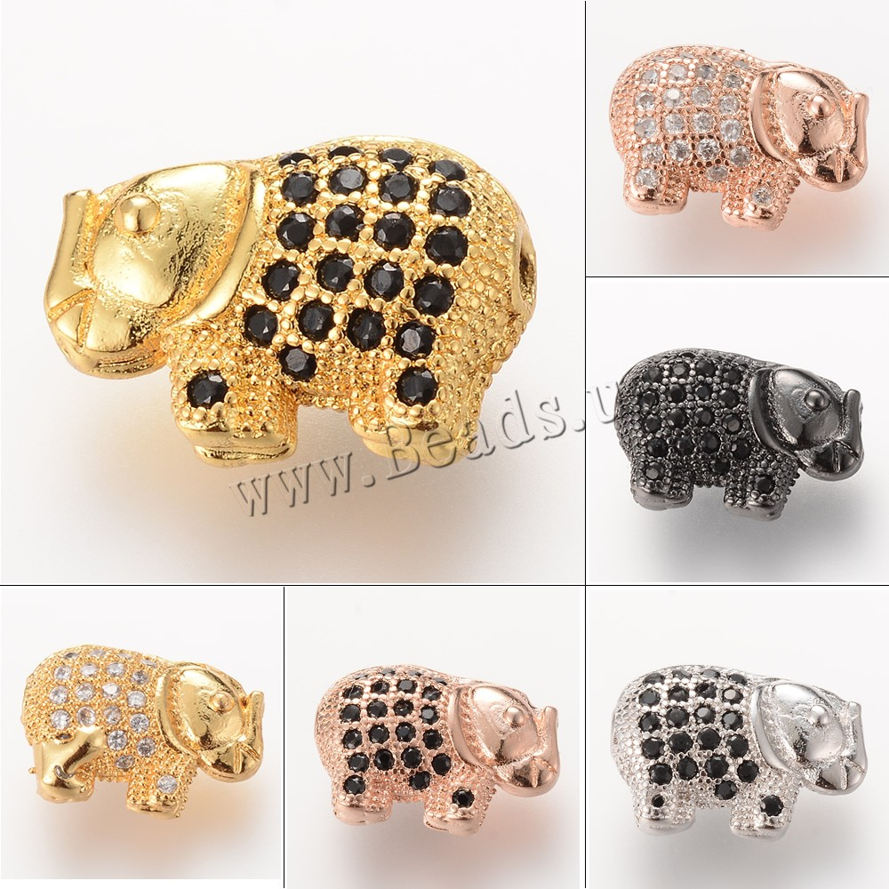 Buy Cubic Zirconia Micro Pave Brass Beads Elephant plated micro pave cubic zirconia colors choice nickel lead & cadmium free 13.5X5.1mm Hole:Approx 2-3mm 5PCs/Bag Sold Bag
