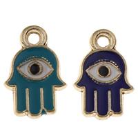 Evil Eye Anhänger, Zinklegierung, blöser Blick, goldfarben plattiert, Emaille, keine, frei von Blei & Kadmium, 12x18x1.50mm, Bohrung:ca. 2mm, 100PCs/Tasche, verkauft von Tasche