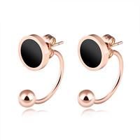 Edelstahl Cartoon-Split-Ohrring, mit Schwarze Muschel, Rósegold-Farbe plattiert, für Frau, 10mm, 21mm, verkauft von Paar