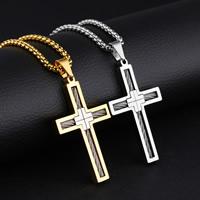 Männer Halskette, Edelstahl, Kreuz, plattiert, Kastenkette & für den Menschen, keine, 29x49mm, verkauft per ca. 21.6 ZollInch Strang