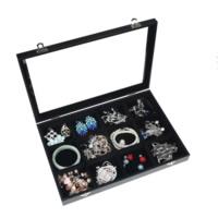 Baumwollsamt Ringkasten, mit Glas & Holz & Zinklegierung, Rechteck, Platinfarbe platiniert, 12 Zellen, schwarz, 350x240x50mm, verkauft von PC