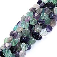 Fluorit Perlen, Herz, natürlich, 14x14x7mm, Bohrung:ca. 0.5mm, ca. 24PCs/Strang, verkauft per ca. 16 ZollInch Strang