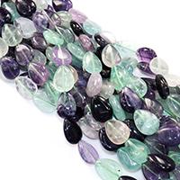 Fluorit Perlen, Tropfen, natürlich, verschiedene Größen vorhanden, Bohrung:ca. 0.5-1mm, verkauft per ca. 16 ZollInch Strang