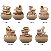 Indoor-Tabletop Entspannung Brunnen für Büro und Wohnzimmer, Harz, verschiedene Stile für Wahl, 130x130x175mm, verkauft von PC