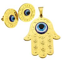 Evil Eye Schmuck-Set, Anhänger & Ohrring, Edelstahl, mit Harz, Evil Eye Hamsa, goldfarben plattiert, 33.5x44x5.5mm, 18mm, Bohrung:ca. 5x8mm, verkauft von setzen