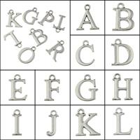 Zinklegierung Buchstaben Anhänger, antik silberfarben plattiert, Buchstaben sind von A bis Z & verschiedene Stile für Wahl, frei von Blei & Kadmium, 5.5x15.5x1.5mm-16.5x16x1.5mm, Bohrung:ca. 1.5mm, 50PCs/Tasche, verkauft von Tasche