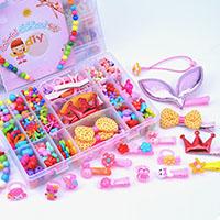 Kinder-DIY Saiten-Perlen-Set, Acryl, mit Kunststoff Kasten, Rechteck, für Kinder & verschiedene Stile für Wahl, 200x130x36mm, verkauft von Box