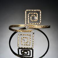 Eisen Armreif, goldfarben plattiert, für Frau & mit Strass, frei von Blei & Kadmium, 80x70mm, Innendurchmesser:ca. 80mm, Länge:ca. 9.5 ZollInch, verkauft von PC