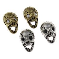 Strass Zinklegierung Perlen, Schädel, plattiert, mit Strass, keine, frei von Blei & Kadmium, 10x15x9mm, Bohrung:ca. 2.5mm, 5PCs/Tasche, verkauft von Tasche