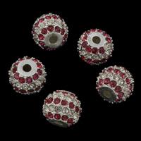 Strass Zinklegierung Perlen, Trommel, Platinfarbe platiniert, mit Strass, frei von Blei & Kadmium, 11.5x9.5mm, Bohrung:ca. 2mm, 5PCs/Tasche, verkauft von Tasche