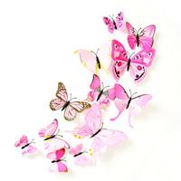 3D Wandaufkleber, PVC Kunststoff, mit Harz, Schmetterling, klebrig & 3D-Effekt & mit Magnet & verschiedene Stile für Wahl, 60-120mm, 12PCs/setzen, verkauft von setzen