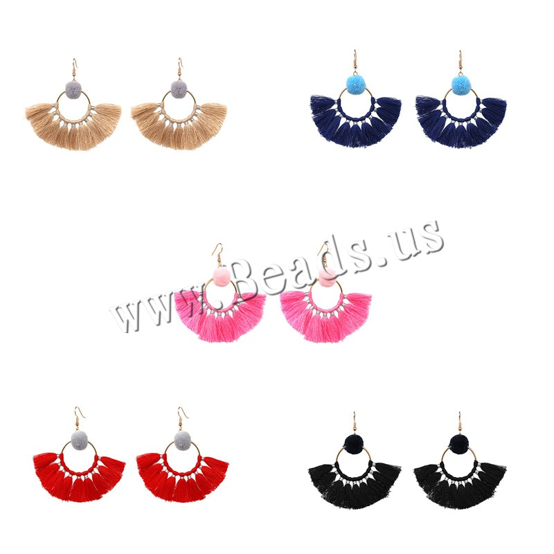 Buy Zinc Alloy Drop Earring Plush & Wool iron earring hook Dome gold color plated woman lead & cadmium free 65x65mm Sold Pair