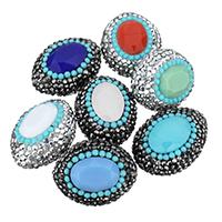 Ovale Kristallperlen, Lehm pflastern, mit Kristall, facettierte & mit Strass, keine, 20x26x14mm, Bohrung:ca. 1mm, 10PCs/Tasche, verkauft von Tasche