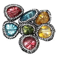 Knistern Quarz Perlen, mit Ton, keine, 15-17x18-23x7-10mm, Bohrung:ca. 1mm, 10PCs/Tasche, verkauft von Tasche