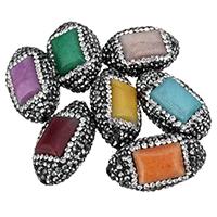 Strass Ton befestigte Perlen, Lehm pflastern, mit gefärbte Jade, oval, mit Strass, gemischte Farben, 16x26x13mm, Bohrung:ca. 1.5mm, 10PCs/Tasche, verkauft von Tasche