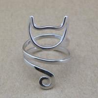 925 Sterling Silber Fingerring, Katze, für Frau, 16-18mm, Größe:6-8, verkauft von PC