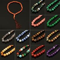 108 Mala Perlen, Edelstein, mit Nylonschnur, rund, verschiedenen Materialien für die Wahl, frei von Nickel, Blei & Kadmium, 10mm, verkauft per ca. 12.5 ZollInch Strang
