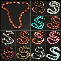 Unisex Halskette, Edelstein, Tropfen, verschiedenen Materialien für die Wahl, 10x15mm, verkauft per ca. 18 ZollInch Strang