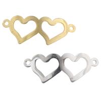 Edelstahl Schmuckverbinder, Herz, plattiert, 1/1-Schleife, keine, 31.50x12.50x1mm, Bohrung:ca. 2mm, 50PCs/Menge, verkauft von Menge