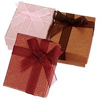 Papier Halskettenkasten, mit Nylon, Rechteck, mit Blumenmuster, keine, 52x65x29mm, 30PCs/Tasche, verkauft von Tasche