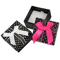 Papier Einzelring Kasten, mit Satinband, Quadrat, mit Muster von runden Punkten, keine, 50x50x35mm, 24PCs/Tasche, verkauft von Tasche
