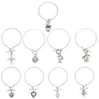 Süßwasser Perle Locket Armband, Messing, mit Perlen, plattiert, verschiedene Stile für Wahl & für Frau & hohl, frei von Blei & Kadmium, 22x15mm-26x25mm, verkauft per ca. 7.5 ZollInch Strang