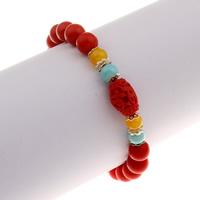 Mode-Zinnober-Armband, Cinnabaris, mit Glas & Zinklegierung, rund, für Frau, 9x14mm, verkauft per ca. 7.5 ZollInch Strang