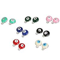 Evil Eye Anhänger, Zinklegierung, flache Runde, Platinfarbe platiniert, böser Blick- Muster & Emaille, gemischte Farben, frei von Blei & Kadmium, 10x13mm, Bohrung:ca. 1-1.5mm, 20PCs/Tasche, verkauft von Tasche