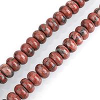 Sesam Jaspis Perlen, Roter Sesam-Jaspis, Rondell, natürlich, verschiedene Größen vorhanden, frei von Nickel, Blei & Kadmium, Bohrung:ca. 0.5-2mm, verkauft per ca. 15.5 ZollInch Strang