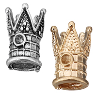 Zinklegierung Perlen Einstellung, Krone, plattiert, keine, frei von Nickel, Blei & Kadmium, 7x13x7mm, Bohrung:ca. 4.5mm,1.5mm, 1000PCs/Menge, verkauft von Menge