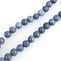 Natürliche Korallen Perlen, rund, verschiedene Größen vorhanden, blau, verkauft per ca. 16 ZollInch Strang