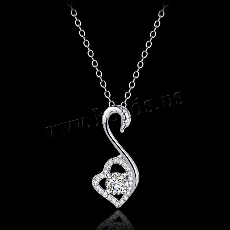 Buy Cubic Zircon (CZ) Stud Earring Brass Cubic Zirconia Swan real silver plated oval chain & woman & rhinestone lead & cadmium free 11x25mm Sold Per Approx 15.5 Inch Strand