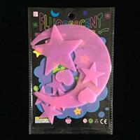 Kunststoff Leuchtende Aufkleber, Mond und Sterne, Klebstoff & glänzend, keine, 30-50mm, 9PCs/Tasche, verkauft von Tasche