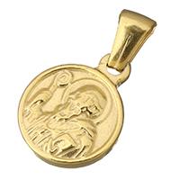 Edelstahl Schmuck Anhänger, flache Runde, goldfarben plattiert, Christ/ Christin Schmuck, 12.50x16x2.50mm, Bohrung:ca. 2.5x4mm, verkauft von PC