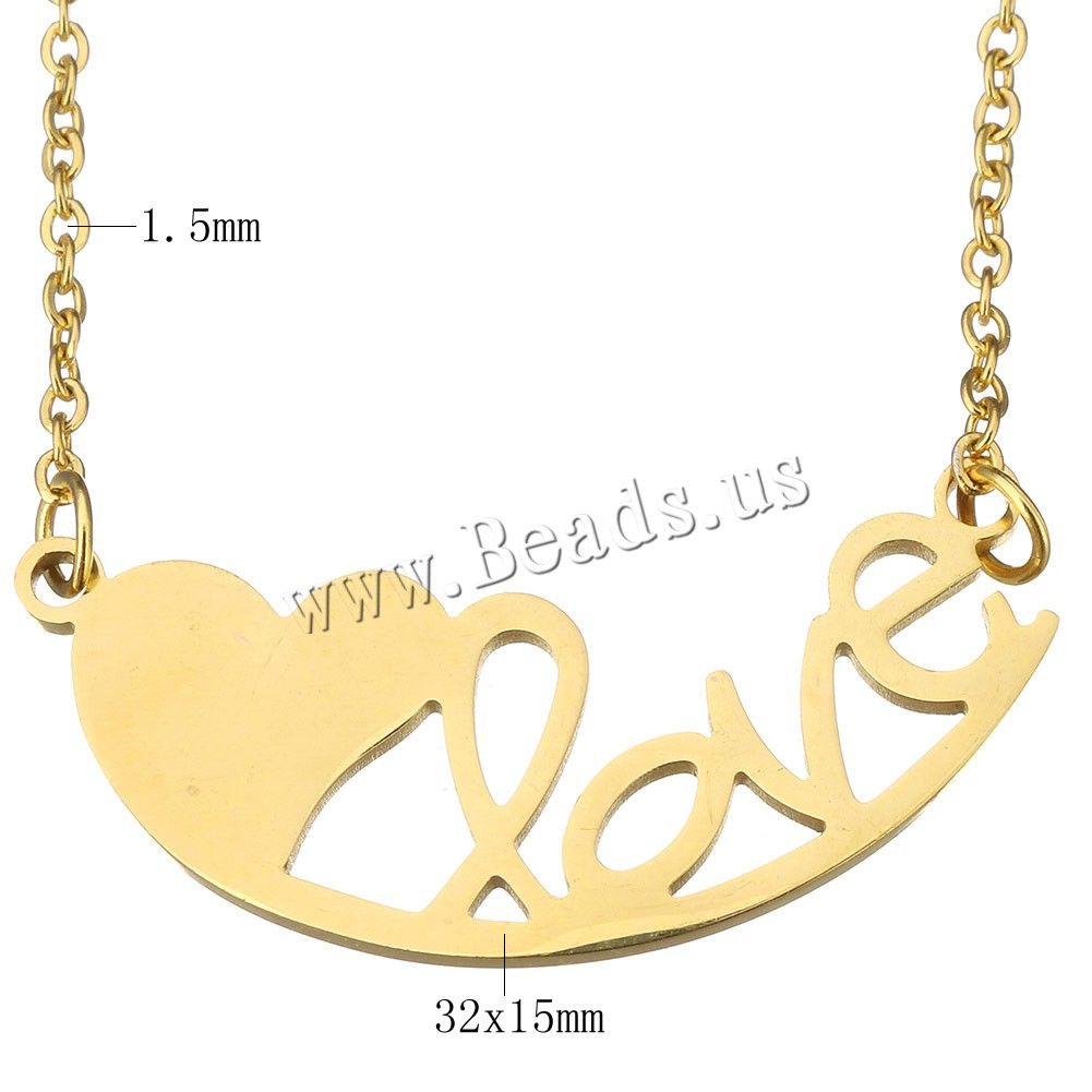 Buy Stainless Steel Jewelry Necklace Heart word love gold color plated oval chain 32x15mm 1.5mm Sold Per Approx 17 Inch Strand