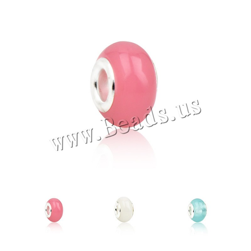 Buy European Resin Beads Rondelle platinum color plated zinc alloy double core without troll colors choice nickel lead & cadmium free 8x14mm Hole:Approx 4.5mm 1 Sold Lot