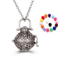 Messing Schwangere Harmonie-Kugel-Strickjacke-Halskette, mit Schwamm, rund, plattiert, Rolo Kette & für Frau & hohl, keine, frei von Blei & Kadmium, 800mm, verkauft per ca. 31 ZollInch Strang