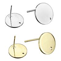 Zinklegierung Ohrring-Bolzen -Komponente, flache Runde, plattiert, mit Schleife & verschiedene Größen vorhanden, keine, frei von Nickel, Blei & Kadmium, 300PCs/Menge, verkauft von Menge