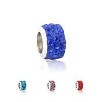 Strass Perlen European Stil, Zinklegierung, mit Ton, Rondell, Platinfarbe platiniert, Zink Legierung einadrig ohne troll, keine, frei von Nickel, Blei & Kadmium, 7x10mm, Bohrung:ca. 4.5mm, 10PCs/Menge, verkauft von Menge
